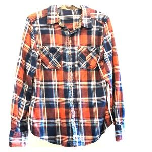 Gap Brushed plaid with camo trim at neck